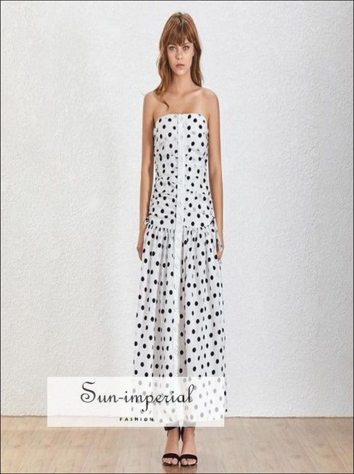 Olivia Dress- Vintage slit Sleeveless Polka Dot buttoned down ruched split side Tube white maxi dress High Waist Off Shoulder Polka Dot
