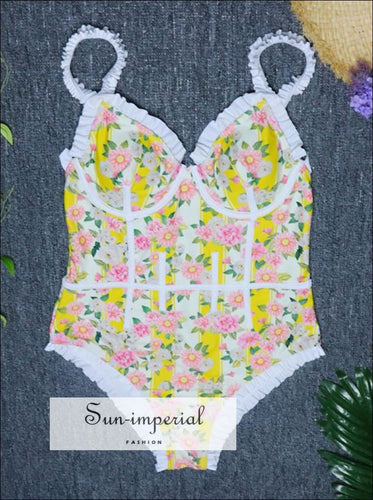One Piece Swimsuit Vintage Lace Floral Print Swimwear SUN-IMPERIAL United States
