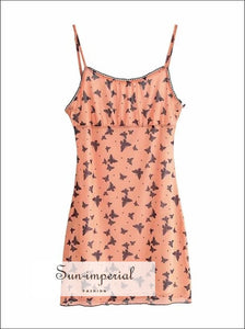 Orange Butterfly Print Bodycon Mesh Cami Mini Dress