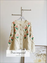 Over Sized Beige Knitted Cardigan with Floral Embroidery detail and Pearl Buttons Sweater best seller, boho style, PEARL BUTTON CARDIGAN,