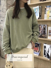 Oversize Cotton Fleece Sweatshirt Women Crew Neck Pullovers Basic Sweatshirts SUN-IMPERIAL United States