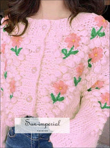 Oversized Pink Knitted Cardigan with Floral Embroidery detail and Pearl Buttons Sweater PEARL BUTTON CARDIGAN, vintage style, VINTAGE THICK