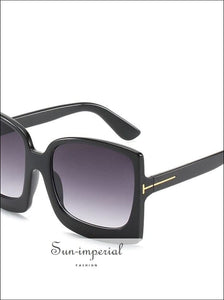 Oversized Women Sunglasses Plastic Female Big Frame Gradient Sun Glasses Uv400 - Black SUN-IMPERIAL United States