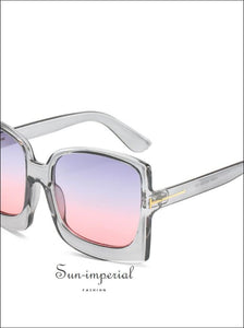 Oversized Women Sunglasses Plastic Female Big Frame Gradient Sun Glasses Uv400 - Pink Blue Lens