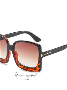 Oversized Women Sunglasses Plastic Female Big Frame Gradient Sun Glasses Uv400 -red Leopard