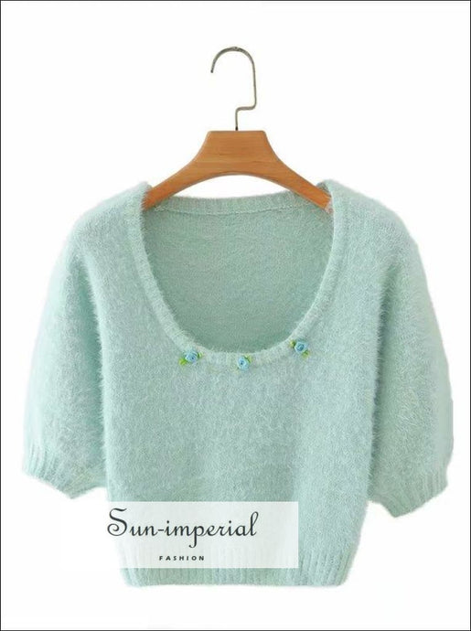 Pail Blue O Neck Knitted Short Sleeve Fuzzy Sweater top with Floral Appliques detail chick sexy style, vintage style SUN-IMPERIAL United