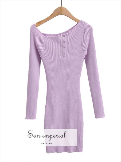 Pail Purple Bodycon Casual Ribbed Mini Dress off Shoulder Long Sleeve side Tik Tak Buttons basic style, sporty style SUN-IMPERIAL United