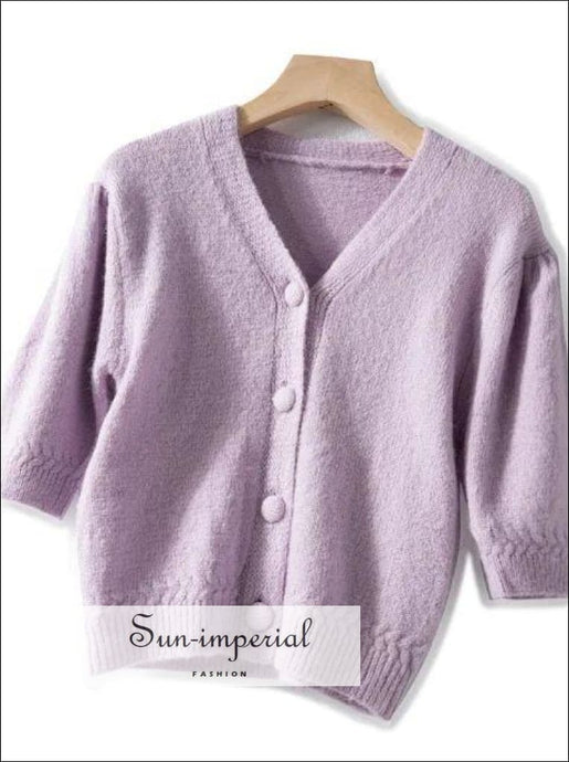 Pale Lavender Women Short Sleeve Knitted Cardigan Single Breasted Sweater top vintage style SUN-IMPERIAL United States