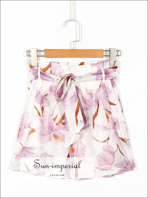 Paper Bag Elegant with Pink Floral Print High Waist Chiffon Women Shorts elegant style, vintage style SUN-IMPERIAL United States