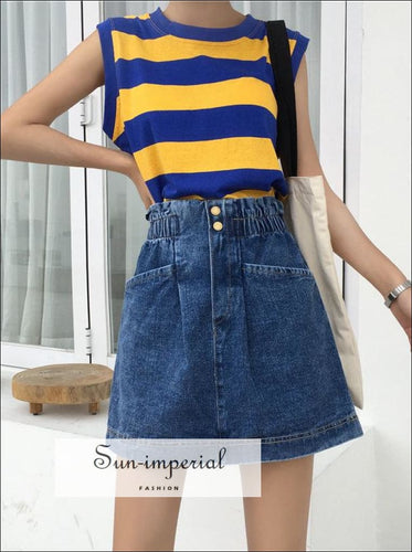 Paperbag Waist Denim Skirt SUN-IMPERIAL United States