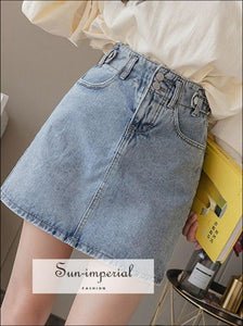 Paperbag Waist Denim Skirt with Belt 2 SUN-IMPERIAL United States