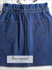 Paperbag Waist Denim Skirt with Belt SUN-IMPERIAL United States