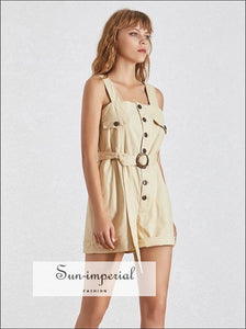 Paris Romper - Casual Khaki Sleeveless Women Playsuit High Waist Buttoned Slim Short Cargo Romper