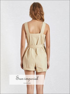 Paris Romper - Casual Khaki Sleeveless Women Playsuit High Waist Buttoned Slim Short Cargo Casual, Sleeveless, Shorts, vintage, SUN-IMPERIAL