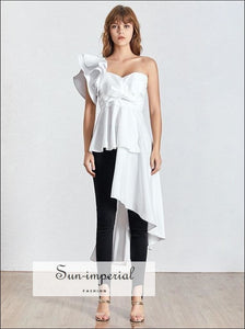 Park Avenue Top - Womens Asymmetrical puffed one Shoulder Solid Blouse Asymmetrical Collar Backless Bow Womens Shirt Off Shoulder Vintage