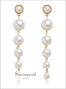 Pearl Beaded Earrings Long Drop for Women SUN-IMPERIAL United States