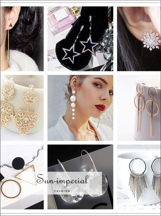 Pearl Heart Leaf Crystal Flower Star Earrings Geometry Drop Earring for Women SUN-IMPERIAL United States