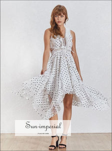Phoebe Dress- White Polka Dot Midi Dress V Neck Lace Decor Sleeveless Light Slit Ruffle Asymmetrical Women's Dress, Off Shoulder,