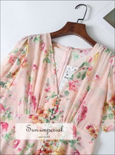 Pink Floral Print Summer Dress V Neck Short Sleeve Buttoned Dress