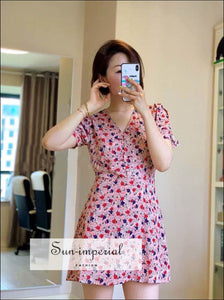 Pink Floral Print V Neck Women Mini Buttoned A-line Dress