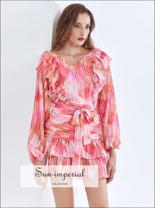Pink Midi V Neck Dress with Lantern Long Sleeve Tie Waist and Ruffle detail best seller, Bohemian Style, boho style, chick sexy night out