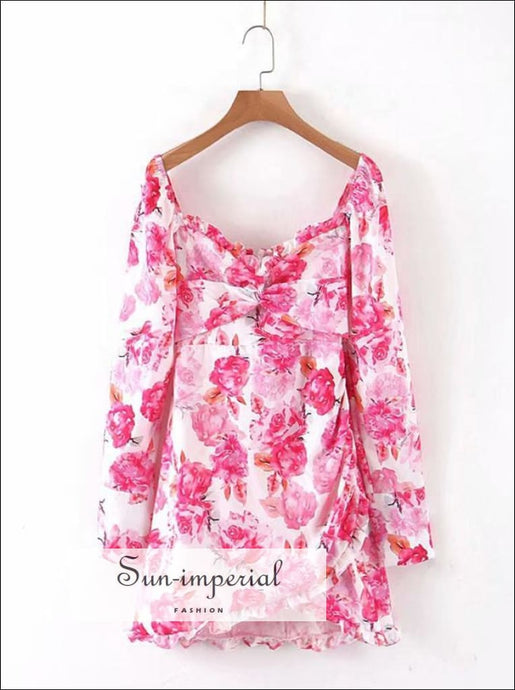 Pink Mini Bodycon Cut-off Dress Long Sleeve Square Collar Flower Printed Mini Summer Dress