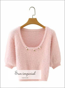 Pink O Neck Knitted Short Sleeve Mohair Sweater top with Floral Appliques detail vintage style SUN-IMPERIAL United States