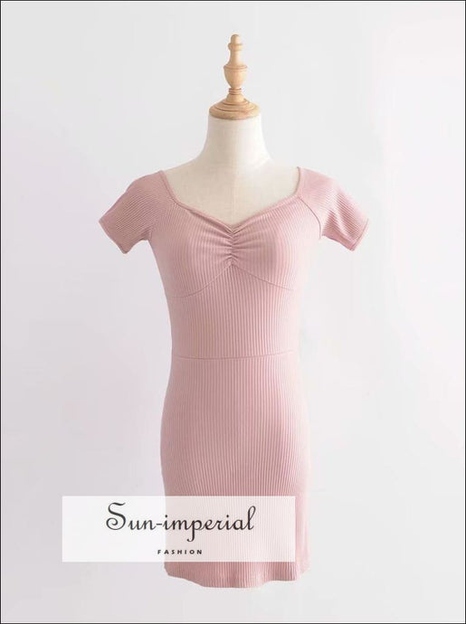 Pink off the Shoulder Bodycion Sweetheart Neck Ribbed Mini Dress Short Sleeve