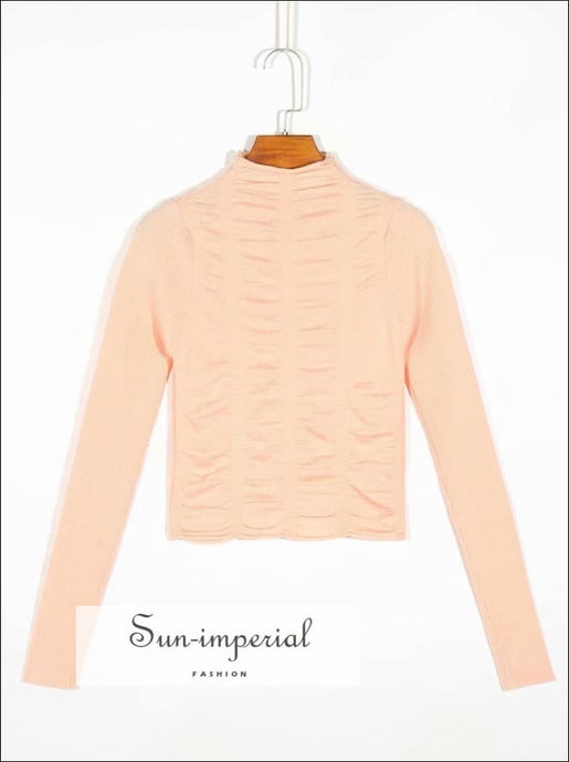 Pink Retro Ruched Casual Long Sleeve Knitted Turtleneck Women Sweater elegant style, vintage style SUN-IMPERIAL United States