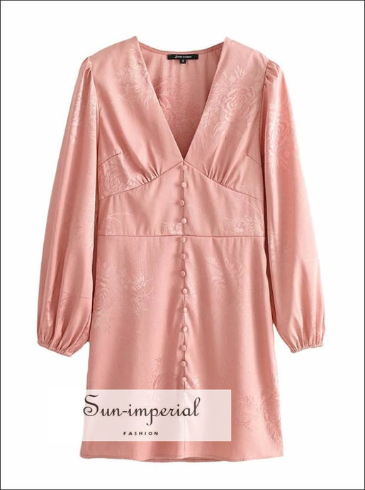 Pink Satin Embroidery Letran Long Sleeve Mini Dress with Deep V Neckline and Buttons detail chick sexy style, elegant Unique style