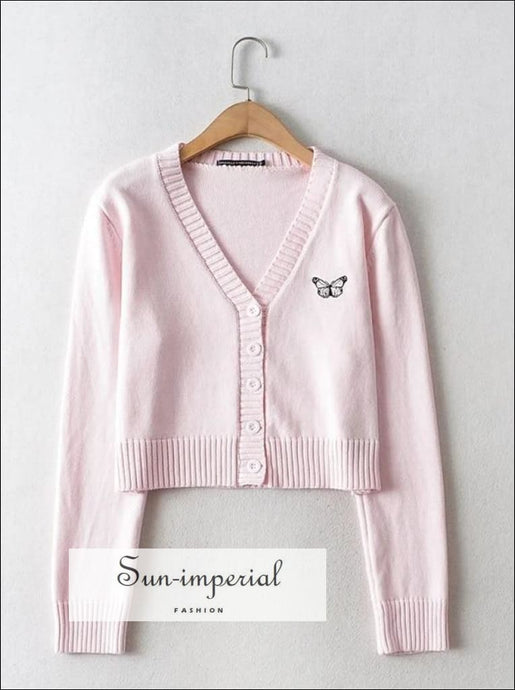 Pink V Neck Embroidery Butterfly Crop Knit Cardigan street style SUN-IMPERIAL United States