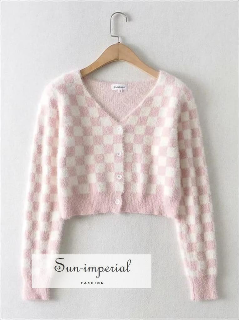 Pink Women V Neck Check Knit Cardigan Crop Plaid top SUN-IMPERIAL United States