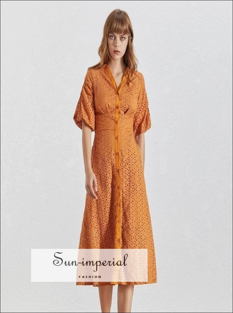 Pirat Dress- Vintage lace Solid White And Orange mini Dress V Neck Puff Sleeve High Waist Buttoned ankle length Dresses High Waist Midi