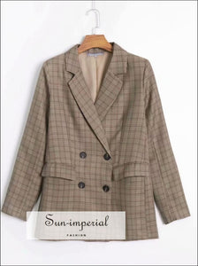 Plaid Beige Double Buttons Women Blazer Check Print Grid Casual Vintage Jacket SUN-IMPERIAL United States