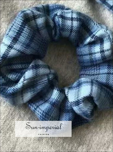 Plaid Print Hair Scrunchy Vintage Accessories SUN-IMPERIAL United States