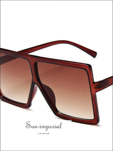 Plastic Oversized Women Sunglasses Square Big Frame Sunglasses for Female - Brown Frame