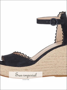 Platform Espadrilles Wedges Faux Suede Sandals Peep Toe Heeled Ankle Strap SUN-IMPERIAL United States