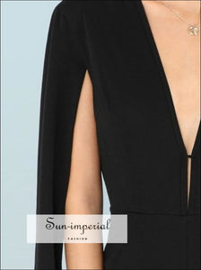 Plunging Neck Cloak Sleeve Jumpsuit SUN-IMPERIAL United States
