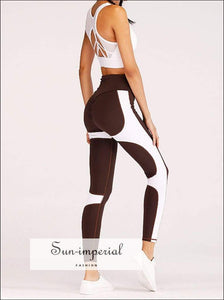 Plus Size Yoga Pants Breathable Women Elastic Running Fitness High Waist Leggings Patchwork Striped SUN-IMPERIAL United States