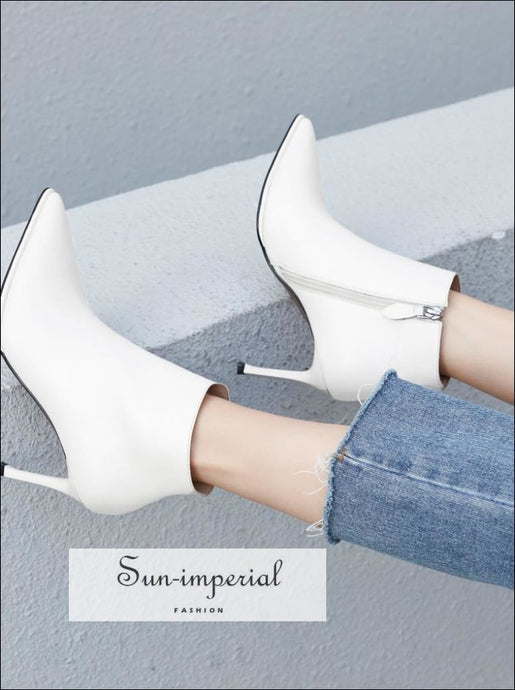 Pointed high heels Genuine Cow Leather Ankle Boots white and Black size us4-us10 Ankle Elegant Faux Leather High Heel Point Toe SUN-IMPERIAL
