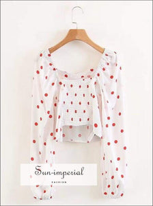 Polka Dot Print Woman top Slim Fit Ruched Elastic back side Zipper Blouse Long Sleeve