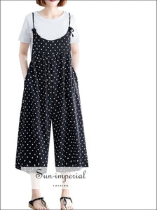 Polka Dot Wide leg Oversize sling jumpsuit Women Sleeveless Jumpsuit Tue Dye Straps SUN-IMPERIAL United States