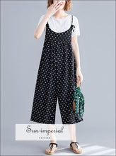 Polka Dot Wide Leg Oversize Sling Jumpsuit Women Sleeveless Tue Dye Straps SUN-IMPERIAL United States