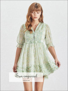 Presley Dress- Vintage Mint Green Floral Print 3/4 Flare Sleeve Ruffles Mini A-line Buttoned Dress