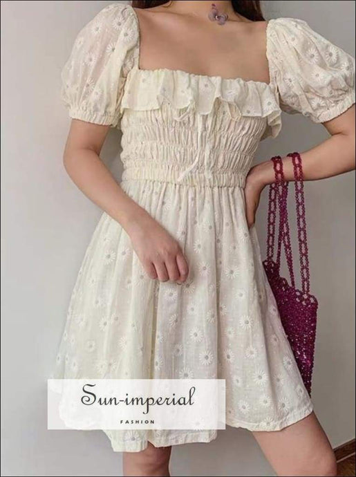 Princes Dress -ruffles Puffed Sleeve Square Neck Bow Slim Waist Floral Dresses SUN-IMPERIAL United States