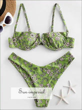 Printed Underwire Bikini - Green Yellow