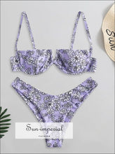 Printed Underwire Bikini - Purple