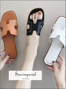 Pu Soft Casual Women Summer Flats Slippers Solid Color Beach Women's H Shaped Sandals- SUN-IMPERIAL United States