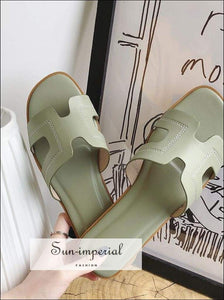 Pu Soft Casual Women Summer Flats Slippers Solid Color Beach Women's H Shaped Sandals SUN-IMPERIAL United States
