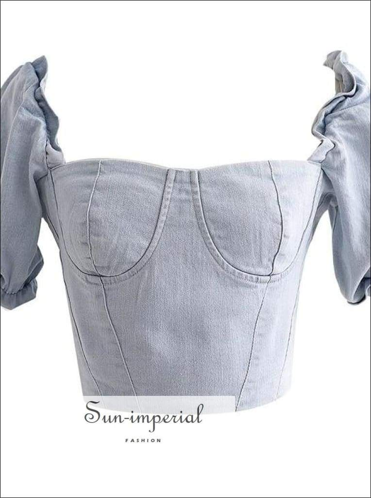 Puff Sleeve Denim Blouse Square Collar Slim Skinny Tops Summer Women Denim top